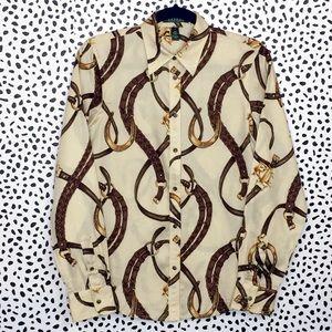 Classic Ralph Lauren Equestrian Print Cotton Shirt